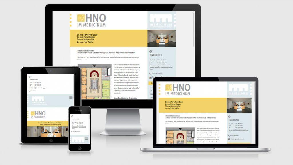 Website der HNO-Praxis im Medicinum Hildesheim