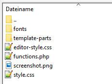 Screenshot der Verzeichnisstruktur